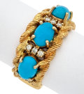 Estate Jewelry:Rings, Turquoise, Diamond, Gold Ring. ...