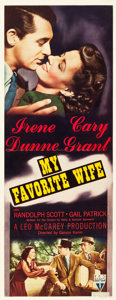"Movie Posters:Comedy, My Favorite Wife (RKO, 1940). Insert (14"" X 36"").. ..."