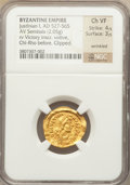 Ancients:Byzantine, Ancients: Justinian I the Great (AD 527-565). AV semissis (2.05gm)....