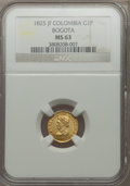 Colombia, Colombia: Republic gold Peso 1825-JF MS63 NGC,...