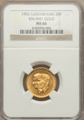 Luxembourg, Luxembourg: Jean & Charlotte gold 20 Francs 1953 MS66 NGC,...