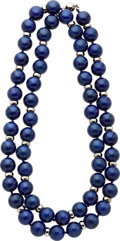 Estate Jewelry:Necklaces, Lapis Lazuli, White Gold Necklace. ...