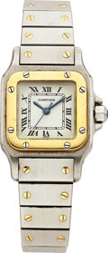 Estate Jewelry:Watches, Cartier Lady's Gold, Stainless Steel Santos Wristwatch. ...