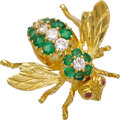 Estate Jewelry:Brooches - Pins, Emerald, Diamond, Ruby, Gold Brooch, Rosenthal. ...