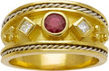 Art Glass:Daum, Gentleman's Ruby, Diamond, Gold Ring. ...