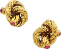 Estate Jewelry:Earrings, Ruby, Gold Earrings, Tiffany & Co., Italy. ...