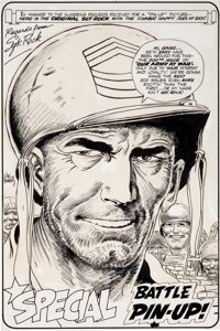 Joe Kubert Our Army at War #200 Sgt. Rock Pin-Up Page Original Art (DC, 1968)