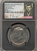 Kennedy Half Dollars, (2) 2014-P 50C High Relief, Clad, 50th Anniversary, First Releases,SP67 NGC. PCGS Population (352/213).... (Total: 2 coins)