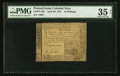 Colonial Notes:Pennsylvania, Pennsylvania April 20, 1781 10s PMG Choice Very Fine 35 Net.. ...