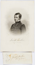 """Autographs:Military Figures, Union General Joseph Hooker Signature. Mounted to a backing sheet to an overall size of 5"""" x 2"""". With an engraved portrait o... (Total: 2 Items)"""