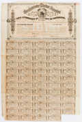 "Miscellaneous:Ephemera, Confederate States of America $1,000 Bond. One page, 17"" x 26"",Richmond, March 1, 1864, with fifty-nine attached thirty dol..."