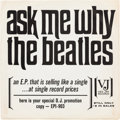 "Music Memorabilia:Recordings, Beatles Souvenir of Their Visit to America Rare ""Ask Me Why""Promo Sleeve (Vee-Jay EPI-903, 1964). ..."
