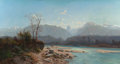 Fine Art - Painting, European:Contemporary   (1950 to present)  , ALFRED GODCHAUX (French, 1835-1895). Fishing Scene in SavoyMountains, 1881. Oil on canvas. 27-1/2 x 51-1/4 inches (69.9...