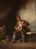 Fine Art - Painting, European:Antique  (Pre 1900), ANTON SEITZ (German, 1829-1900). Mandolin Player. Oil onpanel. 14 x 10-1/2 inches (35.6 x 26.7 cm). Signed lower right:...