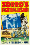 "Movie Posters:Serial, Zorro's Fighting Legion (Republic, 1939). One Sheet (27"" X 41"")Chapter 4 --""The Bridge of Peril."" Serial.. ..."