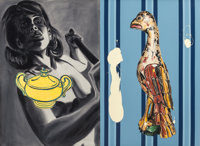 DAVID SALLE (American, b. 1952) Sugar Bowl with Carved Bird, 1988 Oil and acrylic on canvas, on two