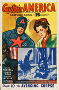 "Movie Posters:Serial, Captain America (Republic, 1944). One Sheet (27"" X 41"") Chapter 10-- ""The Avenging Corpse."". ..."