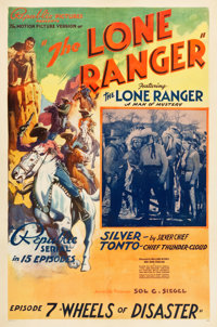 "The Lone Ranger (Republic, 1938). One Sheet (27.25"" X 41"") ""Chapter 7 -- Wheels of Disaster."""