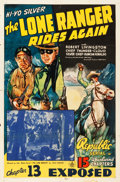 "Movie Posters:Serial, The Lone Ranger Rides Again (Republic, 1939) One Sheet (27"" X 41"") Chapter 13 -- ""Exposed."". ..."