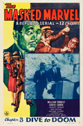 "Movie Posters:Serial, The Masked Marvel (Republic, 1943). One Sheet (27"" X 41"") Chapter 3-- ""Dive to Doom."". ..."