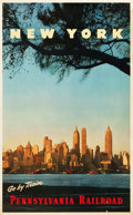 "Movie Posters:Miscellaneous, Pennsylvania Railroad Travel Poster (c.1950s). Poster (25"" X 40.5"")""New York."". ..."
