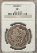 1885-CC $1 AG3 NGC. NGC Census: (0/9739). PCGS Population (17/19399). Mintage: 228,000. Numismedia Wsl. Price for proble...