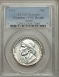 Commemorative Silver, 1935 50C Boone -- Cleaning -- PCGS Genuine. UNC Details. NGC Census: (0/1139). PCGS Population (3/1711). Mintage: 10,000. N...