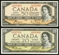 Canadian Currency: , 1954 Devil's Face $20 and $50 Notes. ... (Total: 2 notes)