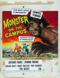 "Monster on the Campus by Reynold Brown (Universal International, 1958). Signed Gouache on Board Painting (22"" X 28..."