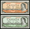 Canadian Currency: , 1954 Devil's Face $1 and $2 Beattie-Coyne Notes. ... (Total: 2notes)
