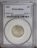 Liberty Nickels: , 1890 5C MS64 PCGS. PCGS Population (108/53). NGC Census: (100/50).Mintage: 16,259,272. Numismedia Wsl. Price: $276.(#3851)...