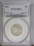 Liberty Nickels: , 1894 5C MS62 PCGS. PCGS Population (25/244). NGC Census: (14/165).Mintage: 5,413,132. Numismedia Wsl. Price: $333.(#3855)...