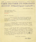 """Autographs:Authors, Thomas Stearns Eliot Typed Letter Signed Politely Declining to Publish Poetry recommended by the recipient. TLS """"T.S. Elio..."""