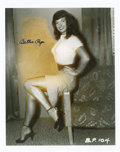"Movie/TV Memorabilia:Autographs and Signed Items, Bettie Page Signed Photo. A b&w 8"" x 10"" photo of the famouspin-up model in a fetching pose, titled Waiting for You,s... (Total: 1 Item)"