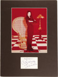 "Movie/TV Memorabilia:Autographs and Signed Items, Carolyn Jones Autograph with Photo. A signature cut featuringJones' autograph in blue felt tip, matted with a color 8"" x 10...(Total: 1 Item)"