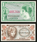 Military Payment Certificates:Series 651, Series 651 50¢; $1 Choice New. . ... (Total: 2 notes)