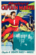 "Movie Posters:Serial, Adventures of Captain Marvel (Republic, 1941). One Sheet (27.5"" X41"") Chapter 4 -- ""Death Takes the Wheel."". ..."