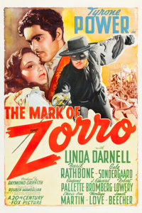 "The Mark of Zorro (20th Century Fox, 1940). One Sheet (27.25"" X 41"") Style A"