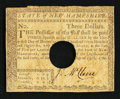 Colonial Notes:New Hampshire, New Hampshire April 29, 1780 $3 Very Fine.. ...