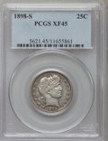 Barber Quarters: , 1898-S 25C XF45 PCGS. PCGS Population (8/76). NGC Census: (4/51). Mintage: 1,020,592. Numismedia Wsl. Price for problem fre...