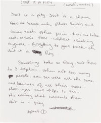 "Beatles - George Harrison Original Handwritten Lyrics for ""Isn't It A Pity."""