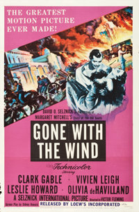 "Gone with the Wind (MGM, R-1954). One Sheet (27"" X 41""). Academy Award Winners"