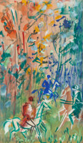 Fine Art - Work on Paper:Watercolor, JEAN DUFY (French, 1888-1964). La Chasse. Watercolor andgouache on paper. 11-1/4 x 6-5/8 x inches (28.6 x 16.8 cm) (sh...