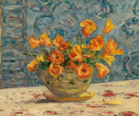 MAXIME MAUFRA (French, 1861-1918) Vase de fleurs Oil on canvas 18-1/2 x 21-3/4 inches (47.0 x 55