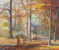 Paintings, HUGHES CLAUDE PISSARRO (French, b. 1935). La Promenade du Dimanche. Oil on canvas. 18-1/4 x 21-3/4 inches (46.4 x 55.2 c...