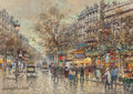 Paintings, ANTOINE BLANCHARD (French, 1910-1988). Theatre du Gymnase, Paris, 1900. Oil on canvas. 13 x 18 inches (33.0 x 45.7 cm). ...