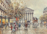 ANTOINE BLANCHARD (French, 1910-1988) Rue Royale, Paris, 1900 Oil on canvas 13 x 18 inches (33.0