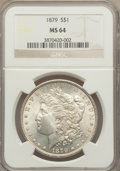 Morgan Dollars: , 1879 $1 MS64 NGC. NGC Census: (3884/776). PCGS Population (3685/1175). Mintage: 14,807,100. Numismedia Wsl. Price for probl...