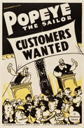 "Movie Posters:Animation, Popeye the Sailor in Customers Wanted (Paramount, 1939). One Sheet(27"" X 41"").. ..."