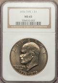 Eisenhower Dollars: , 1976 $1 Type One MS65 NGC. NGC Census: (224/17). PCGS Population (487/24). Mintage: 4,019,000. Numismedia Wsl. Price for pr...